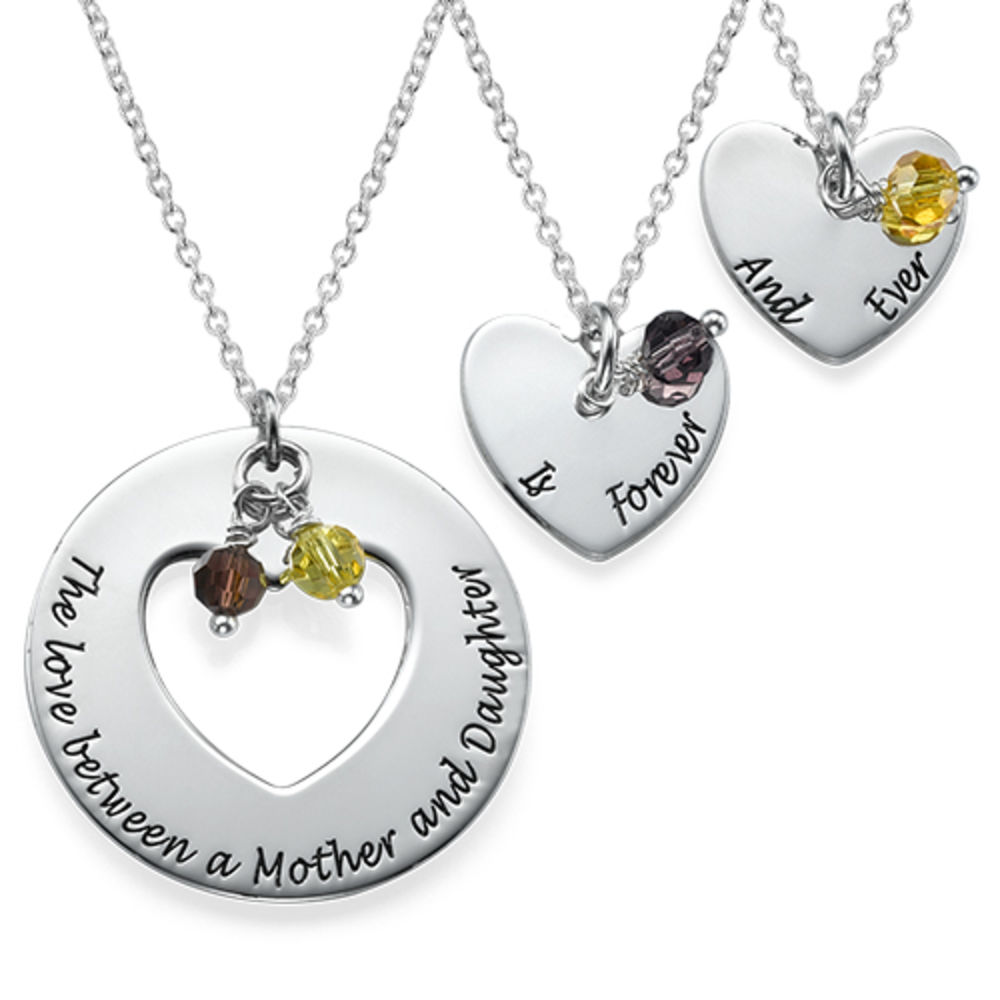 Rose quartz heart necklace mother daughter necklace