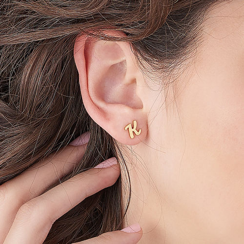 ABC Ear Studs with 18K Gold Plating - 2