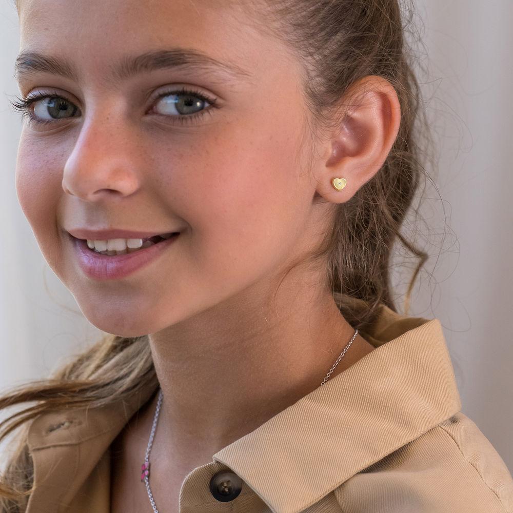 10K Gold Heart Stud Earrings - 1