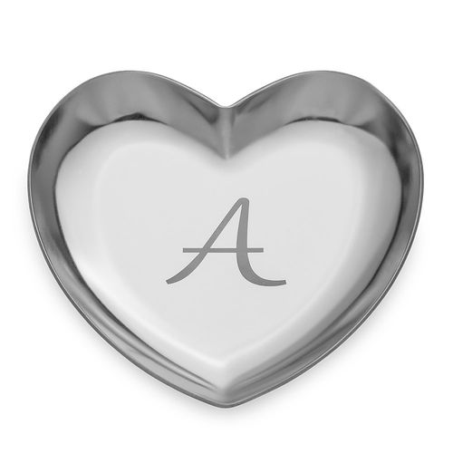 Personalized Heart Jewelry Tray in Silver Color