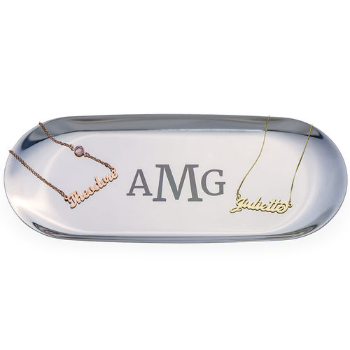 Personalized Oval Jewelry Tray in Silver Color - 1