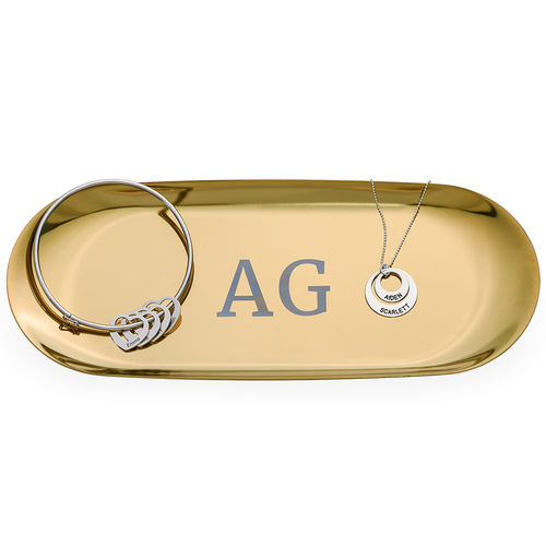 Personalized Oval Jewelry Tray in Gold Color - 1