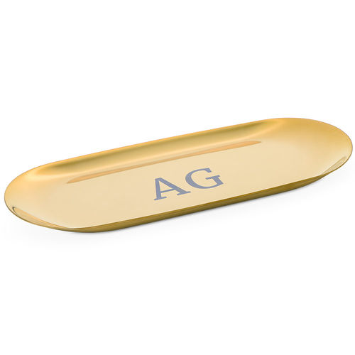 Personalized Oval Jewelry Tray in Gold Color - 5