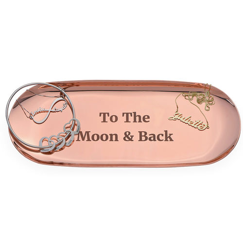 Personalized Oval Jewelry Tray in Rose Gold Color - 1