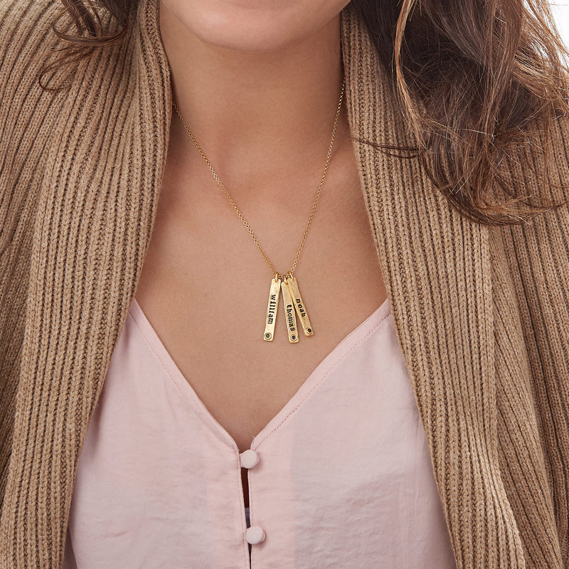 Vertical Bar Gold Plated Necklace With Birthstone - 3