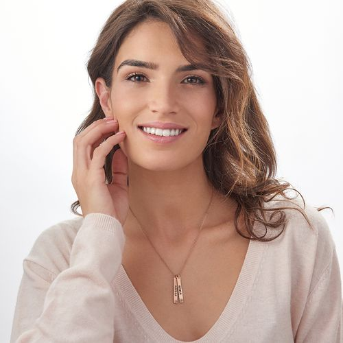 Vertical Bar Rose Gold Plated Necklace With Birthstone - 1