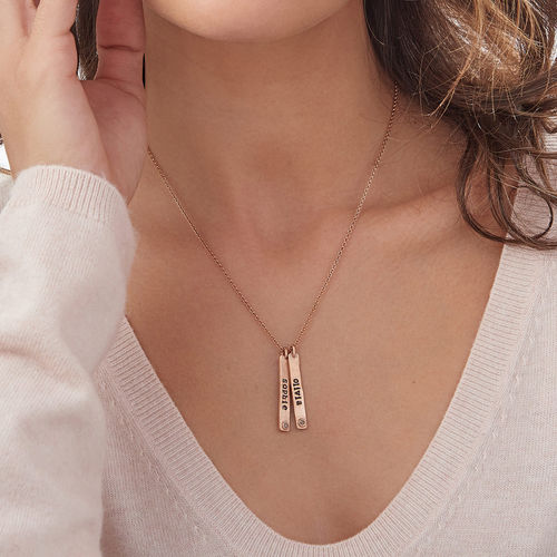 Vertical Bar Rose Gold Plated Necklace With Birthstone - 2