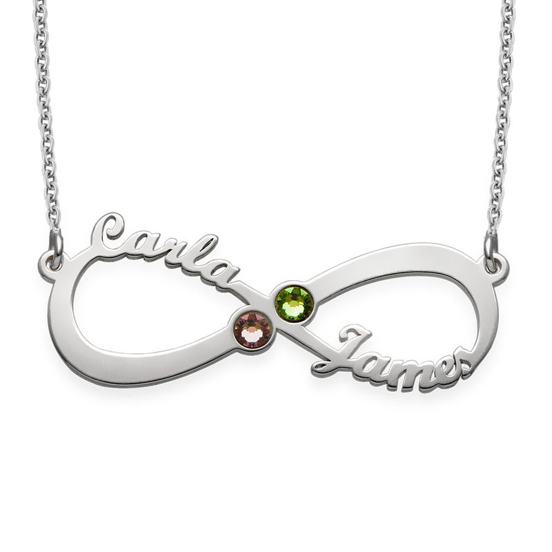 9f9688da6a7 Infinity Name Necklace with Birthstones