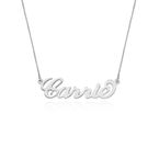 Double Thickness 14k White Gold Carrie Name Necklace