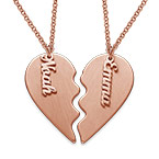 Personalized Couple Heart Necklace in Matte Rose Gold Plating