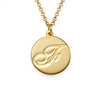 Script Initial Pendant Necklace in 18ct Gold Plating
