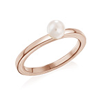 18K Rose Gold Plated Stackable Pearl Ring