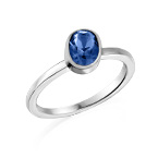 Sterling Silver Stackable Oval Blue Sapphire Ring
