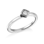 Sterling Silver Stackable Crystal Clear Rhombus Ring