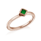 18K Rose Gold Plated Stackable Emerald Green Rhombus Ring
