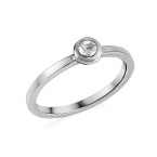 Sterling Silver Stackable Round Crystal Clear Ring