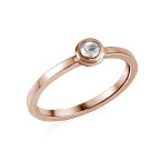 18K Rose Gold Plated Stackable Round Crystal Clear Ring
