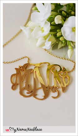 18K Gold Plated Silver XXL Statement Monogram Necklace