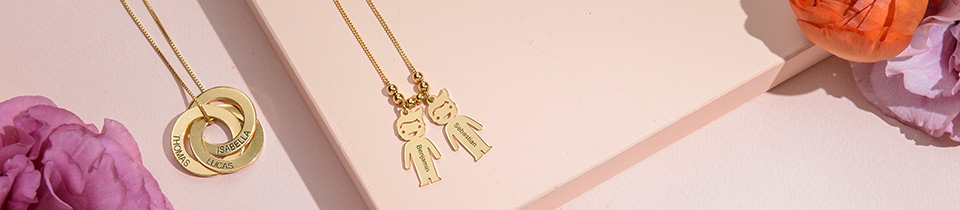 name necklaces in real gold