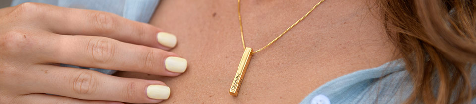 Engraved and name bar necklaces