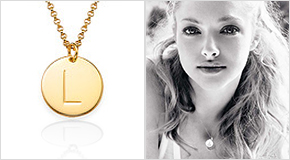 Amanda Seyfried with a Gold Plated Charm Necklace with Initials