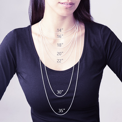Choose the optimal chain length for your necklace mynamenecklace necklace chain length guide choose the right size aloadofball