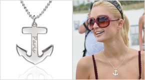 Engraved Anchor Necklace Paris Hilton
