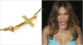 Engraved Side Cross Necklace Kourtney Kardashian