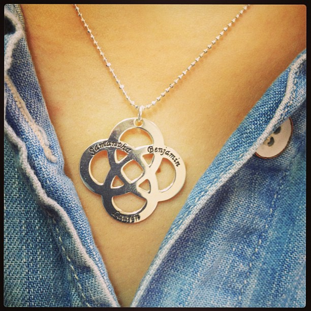 Sterling Silver Engraved Celtic Knot Necklace for Moms
