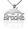 Personalized Silver Dolphin Kids Name Necklace