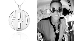 Beyonce with a Personalised Print Initials Necklace