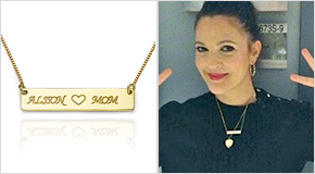 Drew Barrymore with an engraved Bar Necklace