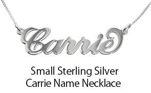 Small Sterling Silver 'Carrie' Style Name Necklace