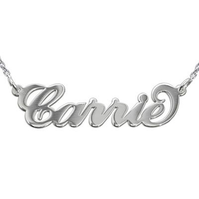 """Collana con nome stile """"Carrie"""" in argento doppio spessore e catenina ad anelli foto del prodotto"""