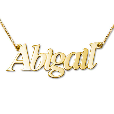 Collana con nome personalizzato doppio spessore personalizzata in oro 14k foto del prodotto