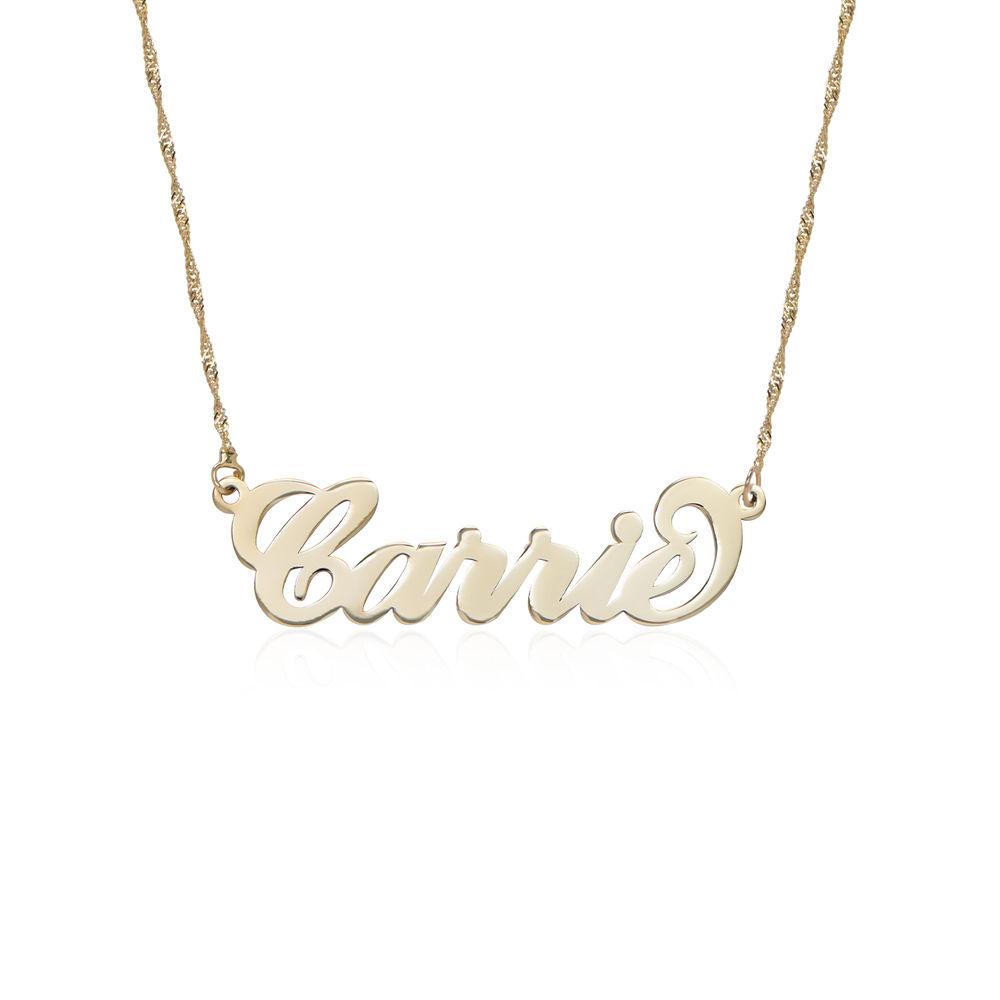 """Collana con nome personalizzato con ciondolo piccolo stile """"Carrie"""" in oro 14k foto del prodotto"""