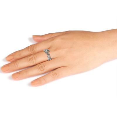 Anello in argento personalizzato con incisione ritagliata - 1