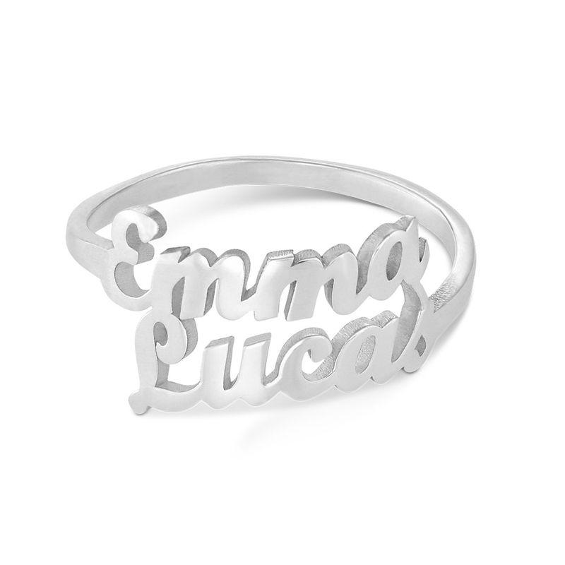 Anello Personalizzato con Due Nomi in Argento - 1
