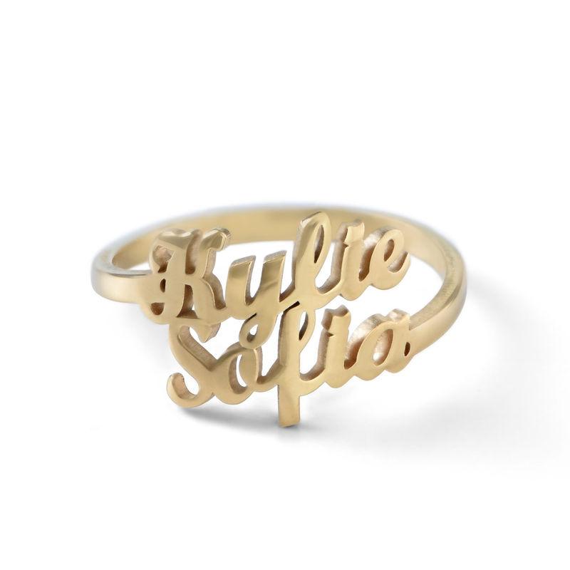 Anello Personalizzato con Due Nomi con Placcatura in Oro foto del prodotto