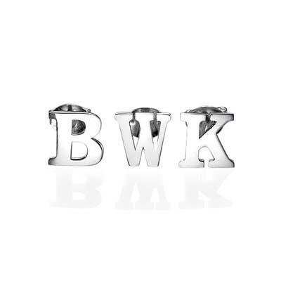 Orecchini a bottone con iniziale in argento-stampa - 1