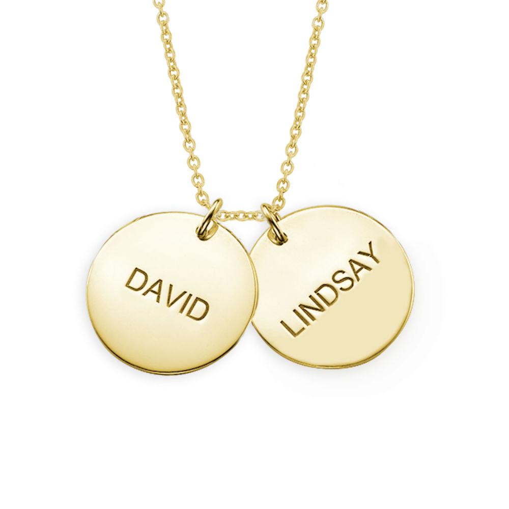 Collana con coppia di dischi incisi con nome in argento placcato oro 18k foto del prodotto