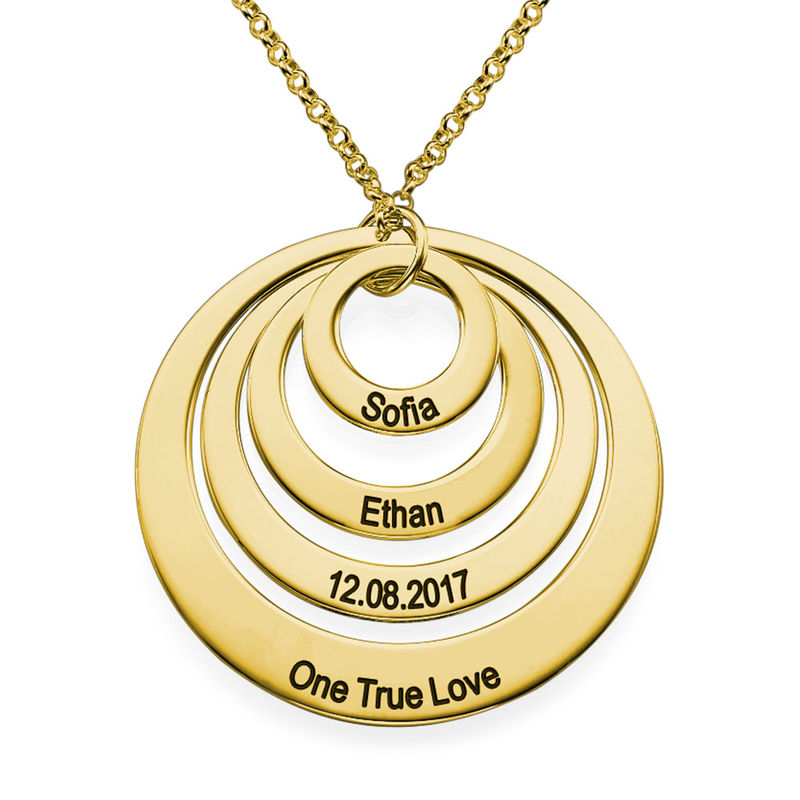 Collana a Quattro Cerchi con Incisione placcata Oro - 1