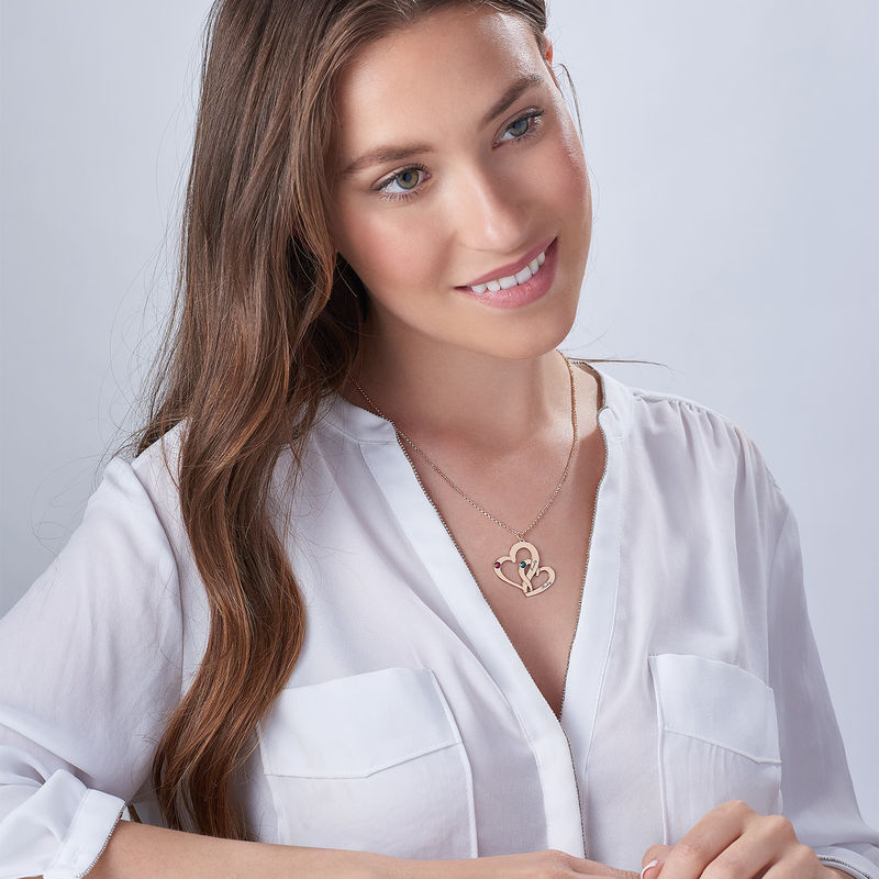 Collana con Due Cuori con Incisione e Placcatura in Oro Rosa - 2