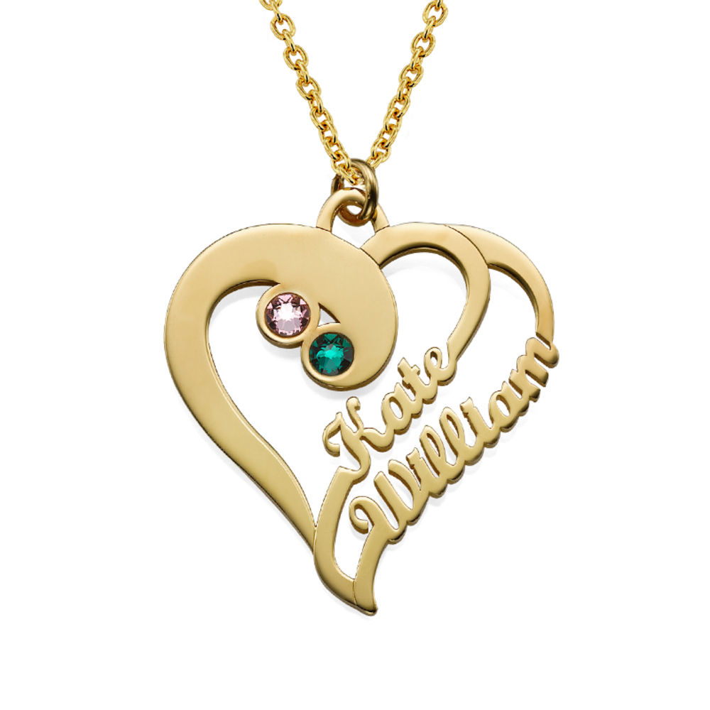 Collana con Due Cuori Per sempre Uno con Placcatura in Oro foto del prodotto