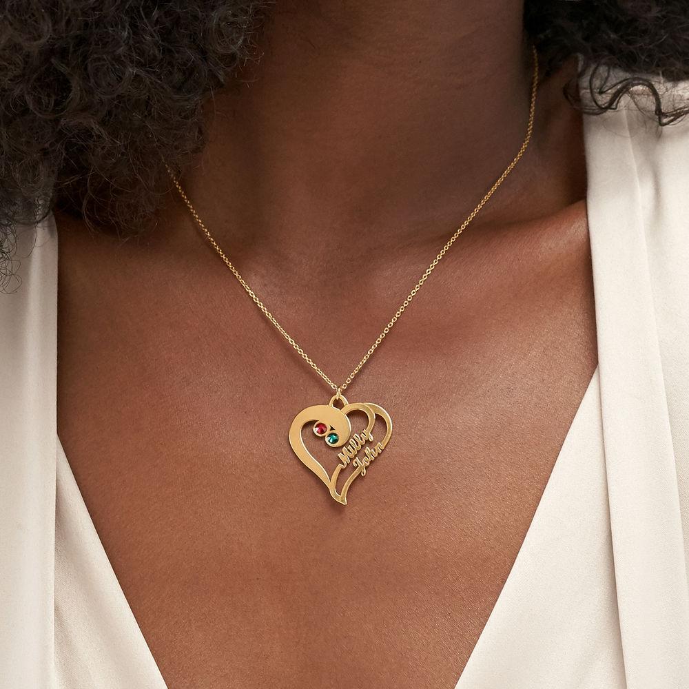 Collana con Due Cuori Per sempre Uno con Placcatura in Oro - 3