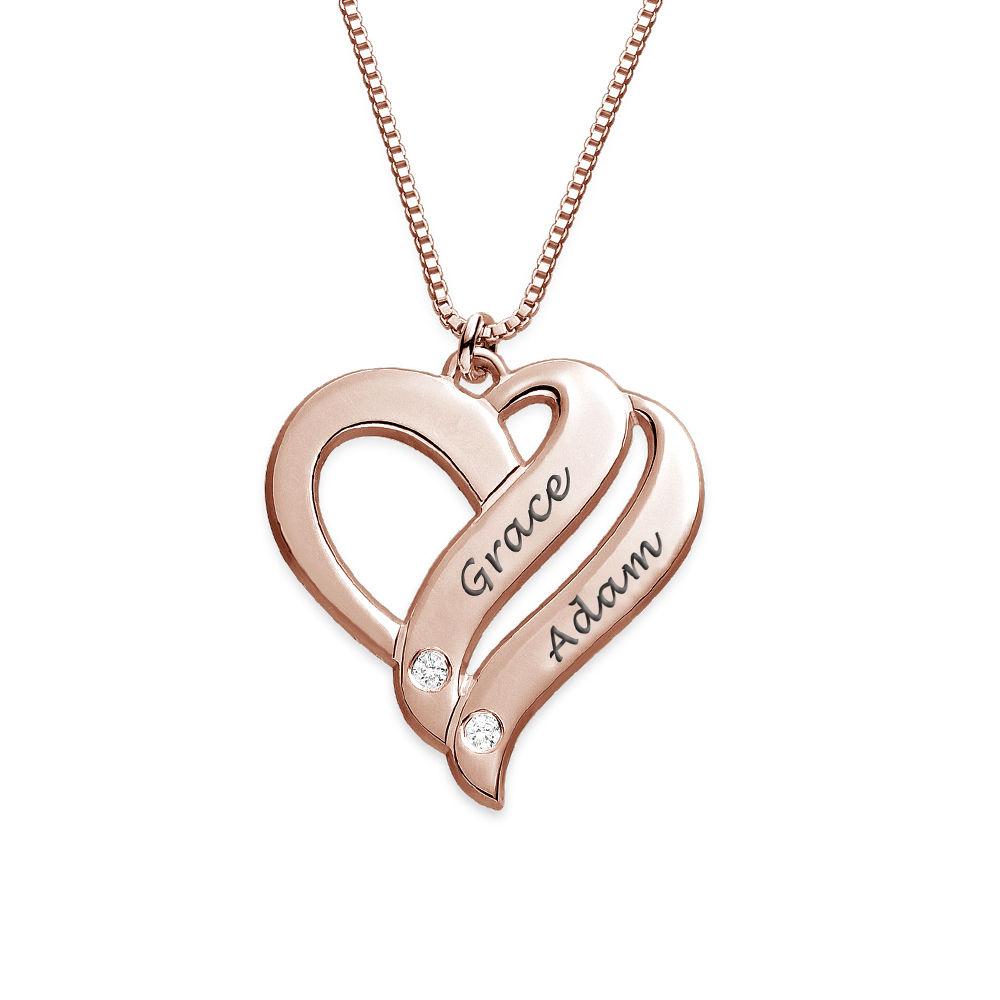 """Collana """"Due Cuori Per Sempre"""" con Diamanti in Oro Rosa 18K foto del prodotto"""