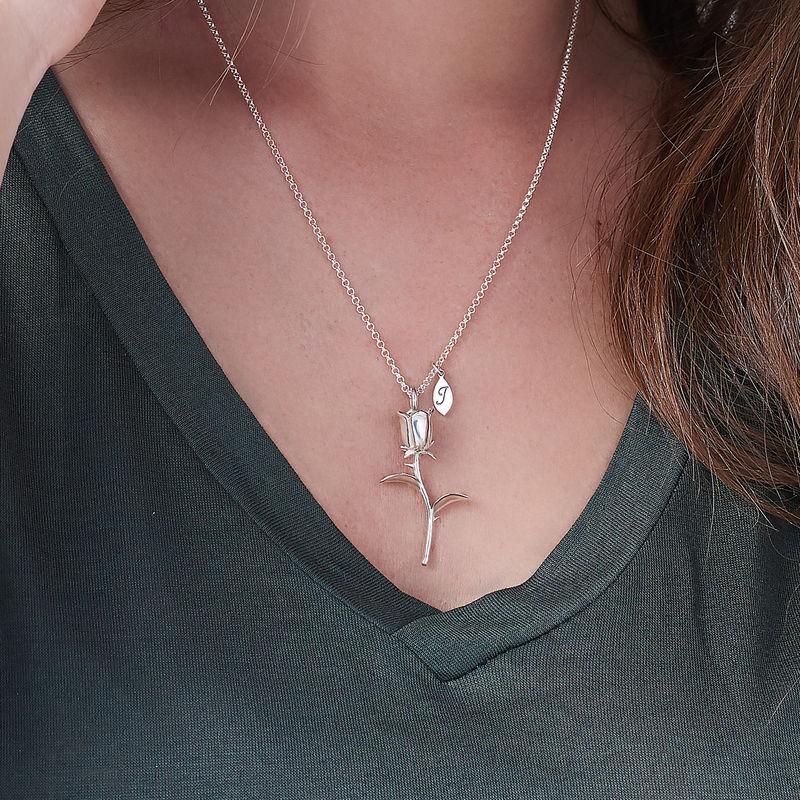 Collana con Rosa e perla con Iniziali in Argento - 2