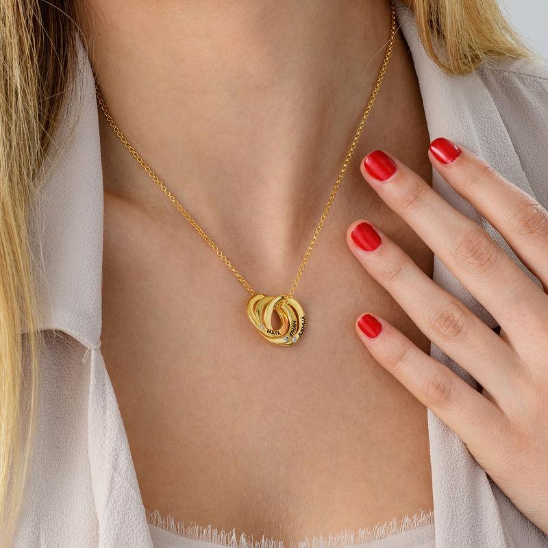 Collana con Anello alla Russa in Argento Placcato Oro con Zirconi Cubici - Design 3D migliorato - 3