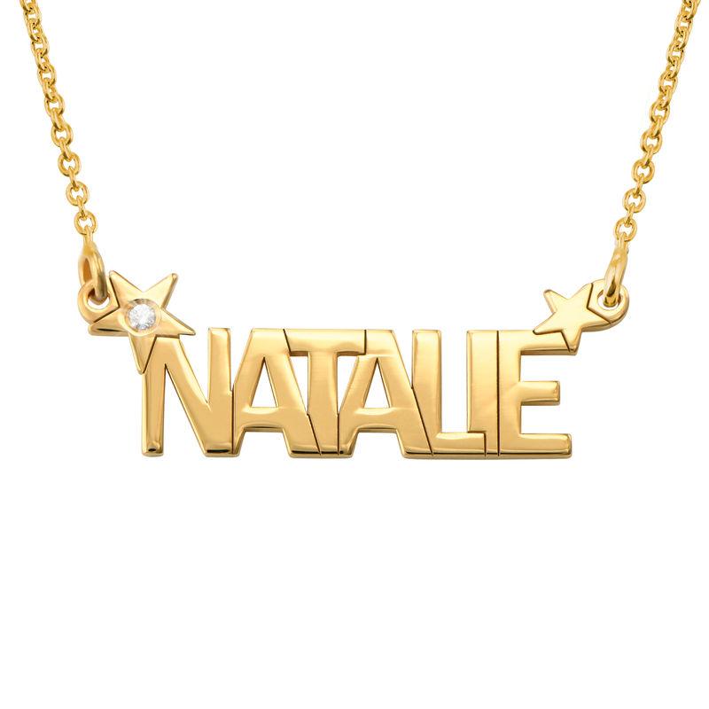 Collana con Nome e Stella con Diamante in Oro