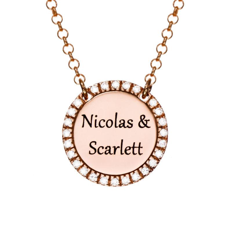 Collana con Zirconi Cubici Rotondi in Argento Personalizzata Placcata Oro Rosa